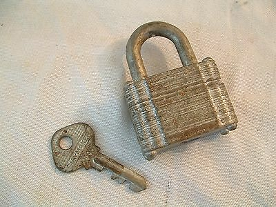 Vtg Antique Old Slaymaker Padlock Lock Lancaster Penna Hardened USA 1 Key Works