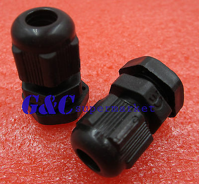 5PCS PG7 Black Plastic Waterproof Connector Gland 3-6.5mm Dia Cable New