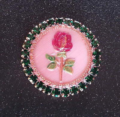 Vintage Style Czech RHINESTONE ALL Glass Button (1 pc) #D995 - SIGNED!!! - 41 mm