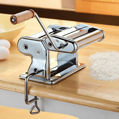 Pasta Machine Maker Lasagne Spaghetti Stainless Steel Cutter with Wooden Handle