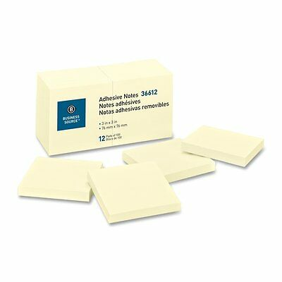 Sticky  Notes Business Source 36612 , 3x3, 1200 Sheets,Yellow