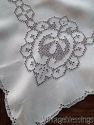 "Vintage Linen Mosaic LACE Linen Tea Tablecloth 34"" x 32"""