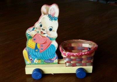 Vintage Fisher Price Wood Pull Toy Easter Rabbit Bunny 1950's Basket Wheels