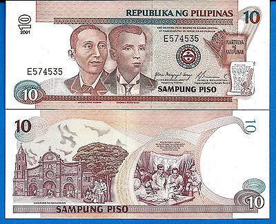Philippines P-187i 10 Piso Year 2001 Uncirculated Banknotes FREE SHIPPING
