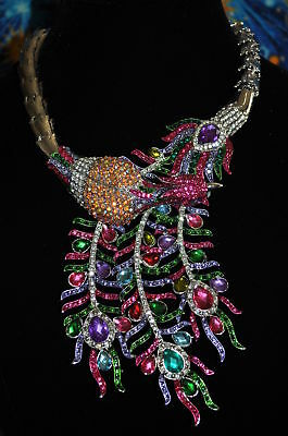 Breathtaking Swarvoski Crystal Lg Peacock Multi-Colored Necklace/wow!