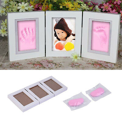 New Cute Photo Frame Baby Footprint Foot or Hand Print Cast Set Gift GH