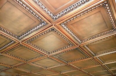Faux tin glue up ceiling tiles - TD06 Aged Copper - Lot of 25 tiles ~ 100 sq.ft