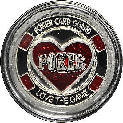 Casino Poker Card Guard Cover Protector LOVE THE GAME silver color