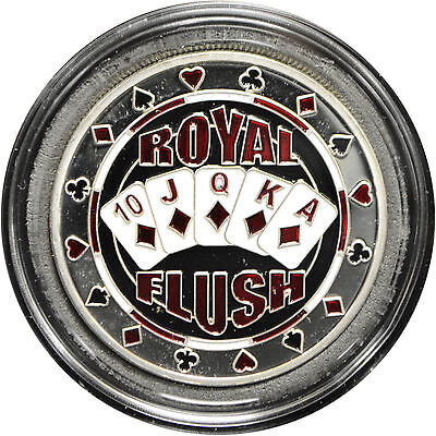 Casino Poker Card Guard Cover Protector ROYAL FLUSH silver color