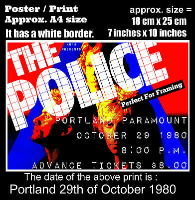 The Police live concert Paramount Portland 29 October 1980 A4 size poster print