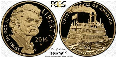 2016-W $5 Us Mark Twain In Sheild Pcgs Holder Graded Pr69-Dcam Flawless Coin