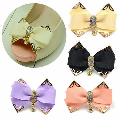 1 Pc Butterfly Bow Crystal Rhinestone Wedding Bridal Shoe Clip Buckle Removable