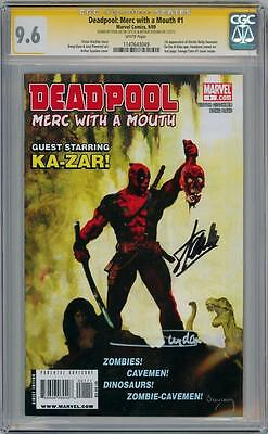 DEADPOOL MERC WITH A MOUTH #1 CGC 9.6 SIGNATURE SERIES SIGNED x2 STAN LEE MOVIE