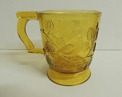EAPG Bryce Robin in a Tree Mug Amber Pressed Glass Excellent