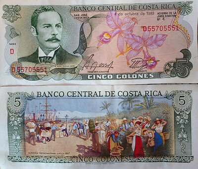 Costa Rica 1989 5 Colones Uncirculated Banknote P-236 Colorful From Usa Seller !