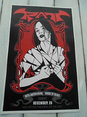 "RATT Concert Poster ANTIDIVISION San Diego HOUSE OF BLUES 11""x17"""