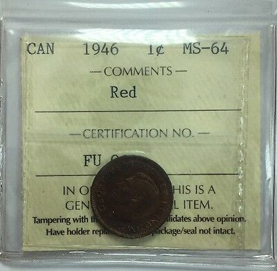 1946 Canadian One Cent Coin ICCS Graded MS-64 Red