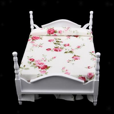 1:12 Miniature Wooden Victorian Bed for Dolls House Bedroom Furniture