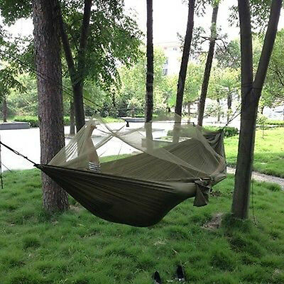 Army Green Travel Outdoor Camping Hammock Hanging Tent Sleeping Bed w/ Sack