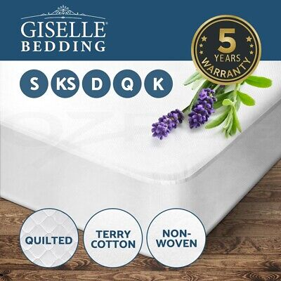 Giselle Waterproof Mattress Protector Queen Non Woven Terry Cotton All Sizes