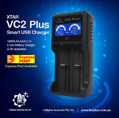 XTAR VC2 PLUS Master LCD 18650 26650 AA AAA C D IMR Li-ion Battery USB Charger