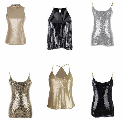 Women Spangle Sequin Sparkle Glitter Tank Top Vest Sleeveless T-Shirt  Camisole 2ab87c6cf4b2