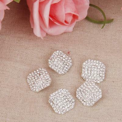 5x Crystal Diamante Octagon Shape Shank Buttons Embellishment Craft DIY 17MM