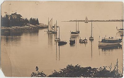 Maine Me Real Photo RPPC Postcard 1912 SOUTHPORT Harbor Boats Home People