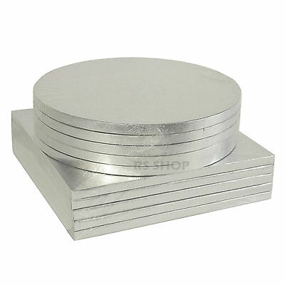 "Large Thick Round/Square Silver Cake Board Drum - 8 10 12 14"" Wedding Birthday"