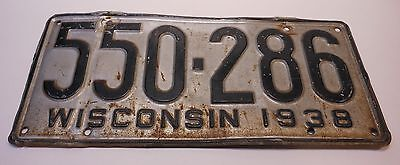 Wisconsin 1938 License Plate