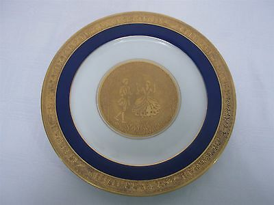 Hutschenreuther Selb Cobalt Gold Encrusted Lady & Gent W Fairy Border Plate