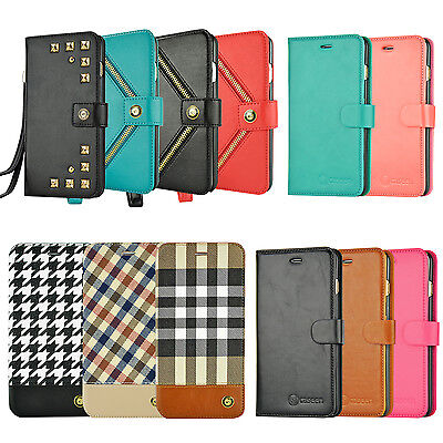 For Apple iPhone 8 7 6S 6 Plus X XS Wallet Case Card Holder Flip Stand Cover