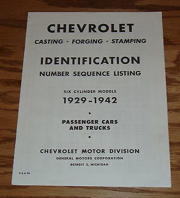 1929-1942 Chevrolet Passenger Car Truck Identification Number Sequence Listing