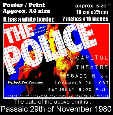 The Police live concert Passaic New Jersey 29 November 1980 A4 size poster print