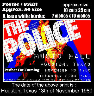 The Police live concert at Houston Texas 13th November 1980 A4 size poster print