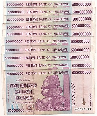 10 X Zimbabwe 500 Million Dollars 2008 AA's only Circulated, 100 Trillion Series