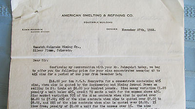 ASARCO Letter Document to Wasatch Mining Company-Silver Plume Colorado-1922