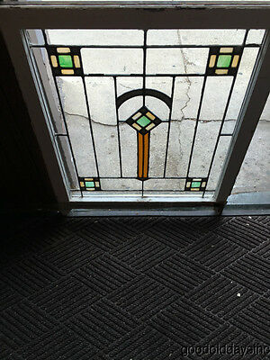"Antique 1920s Chicago Bungalow Stained Leaded Glass Window 34"" by 28"""