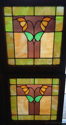 "Pair of Antique Chicago Stained Leaded Glass Windows 25"" by 24"" Circa 1920"