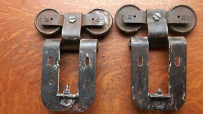 Two Antique Vintage Iron Garage Door Rollers or Hangers & Brackets