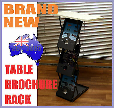 A4 Portable Display Brochure Stand Magazine Rack Holder with Table