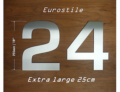 EXTRA LARGE brushed Stainless Steel House Numbers 25cm / Letter A