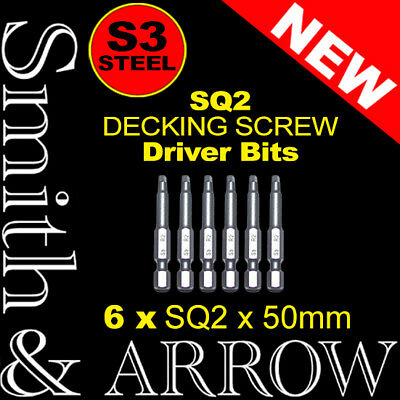 6x 50mm SQUARE S3 SCREWDRIVER BIT DECKING SCREWS HEX POWER DRILL MAGNETIC DRIVER