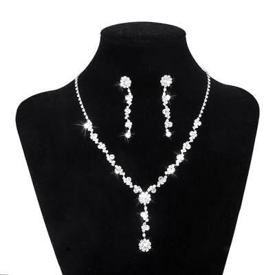 Silver Tassel Crystal Necklace Earring Wedding Bridal Bridesmaid Jewelry SET