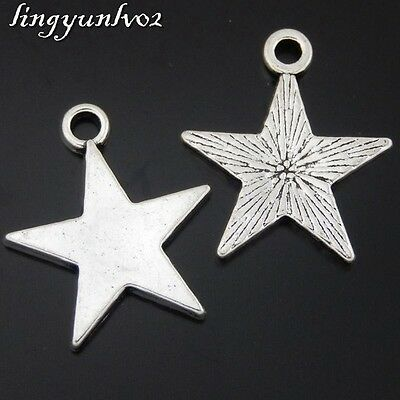 Antique Silver Alloy Five-point Star Pendants Charms Findings Crafts  25x 50439