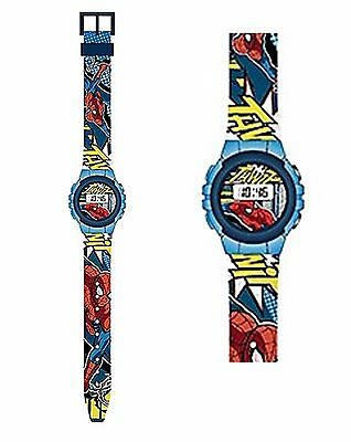 Marvel SPIDERMAN Kinderuhr Armbanduhr Sportuhr Lernuhr digital blau