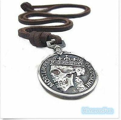 Fashion Men's charm Vintage Silver Skull pendant Genuine Alloy leather necklace