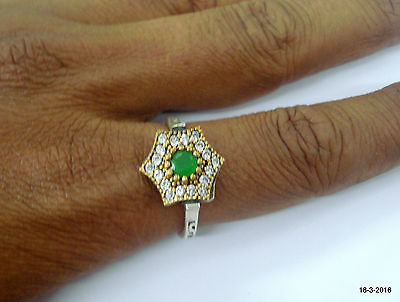 sterling silver ring green onyx & crystal gemstone ring two tone ring handmade