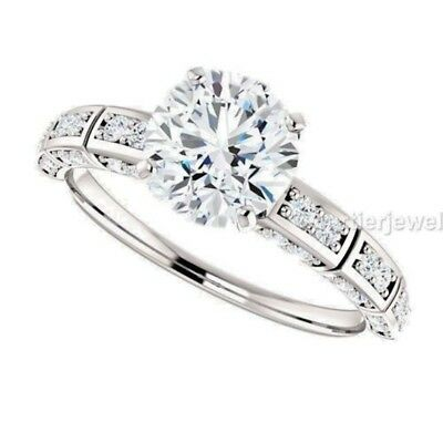 Genuine white moissanite solitaire engagement ring 2.58 ct wt 925 silver