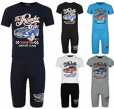 Boys Shorts T Shirt Set Racing Car 2Pc Outfit Set 2-10 Years Bnwt